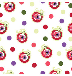 Seamless pattern with red evil eye vector