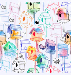 Seamless pattern with watercolor birdhouse on vector