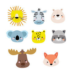 set cute cartoon animal faces lion fox bear vector image