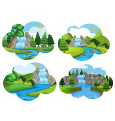 Set of waterfall nature scenes vector