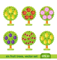 six fruit trees vector image