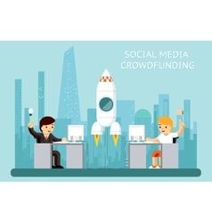 Social media cowdfunding vector