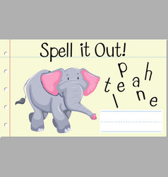 Spell english word elephant vector