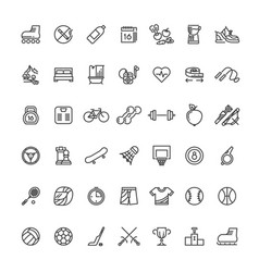 Sports fitness outline symbols sports equipment vector
