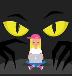 stealing data conceptual big yellow eyes spying vector image
