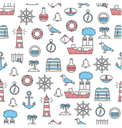 Thin line art sailor seamless pattern vector