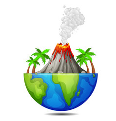 Tree and volcano on earth vector
