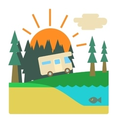 Trip by camper in forest concept flat style vector