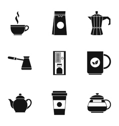 Types of drinks icons set simple style vector