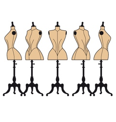 Vintage fashion mannequins set vector