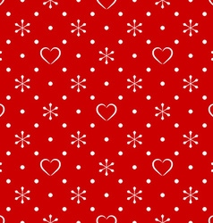 Vintage polka dot pattern with snowflake and heart vector