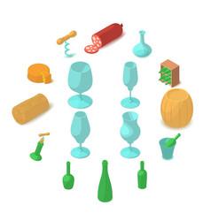 Winemaking icons set cartoon style vector