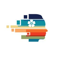 woman head colorful logo vector image