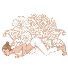 women silhouette eight-limbed yoga pose vector image