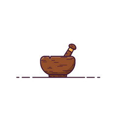 Wooden mortar vector