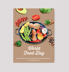 World food day poster design with avocado peas vector