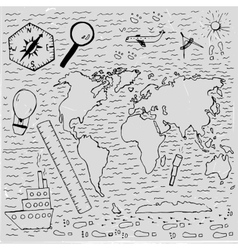 World Hand drawn map vector