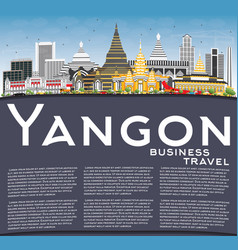 yangon skyline with gray buildings blue sky and vector image