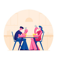 young happy couple eating asian food in box vector image