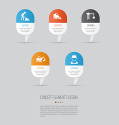 architecture icons set collection of digger vector image vector image