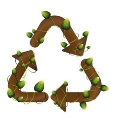 grouth recycling symbol shape with creepers vector image vector image