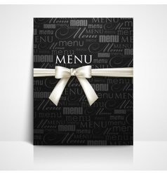 restaurant menu design with white bow and ribbon vector image