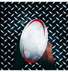 Rugby ball and hands over metal vector image vector image