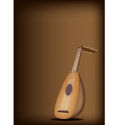 A Beautiful Antique Lute on Dark Brown Background vector image vector image