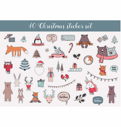 colorful christmas and winter sticker set vector image vector image