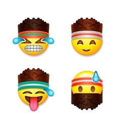 Emoji smiley faces fitness concept vector image vector image