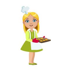 girl with tray of cookies cute kid in chief toque vector image