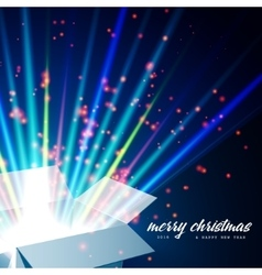 Merry Christmas and Open gift with fireworks from vector image vector image