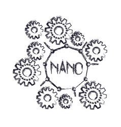 set gear machinery with nano text in center vector image vector image