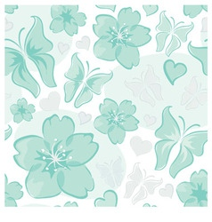 turquoise floral background vector image