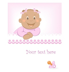 Happy African baby girl arrival announcement vector image