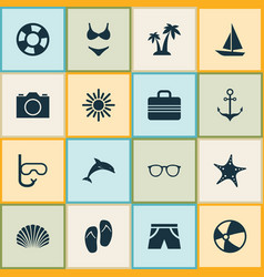 hot icons set collection of ship trees baggage vector image vector image