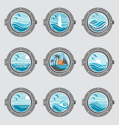 ship portholes set vector image