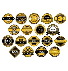 Taxi labels in retro style vector