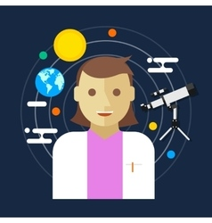 astronomer space science women vector image vector image