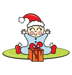 Baby in Christmas time vector image