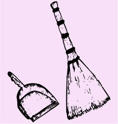 broom dustpan vector image vector image