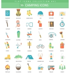 Camping color flat icon set Elegant style vector image vector image