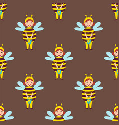 cute bee kids wearing costume characters vector image