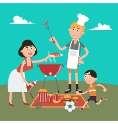 Happy Family Doing Barbecue on Picnic vector image