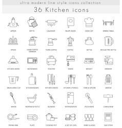 Kitchen ultra modern outline line icons for vector image vector image
