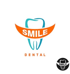 Molar tooth logo template with smile shaped text vector image vector image