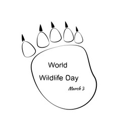 World wildlife day with animal footprint vector