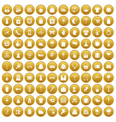 100 dress icons set gold vector image