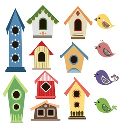 Abstract birdhouse set with birds vector image