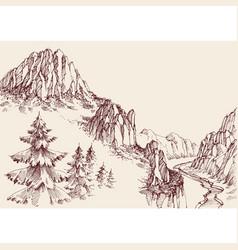 Alpine sketch background pine tree forest vector
